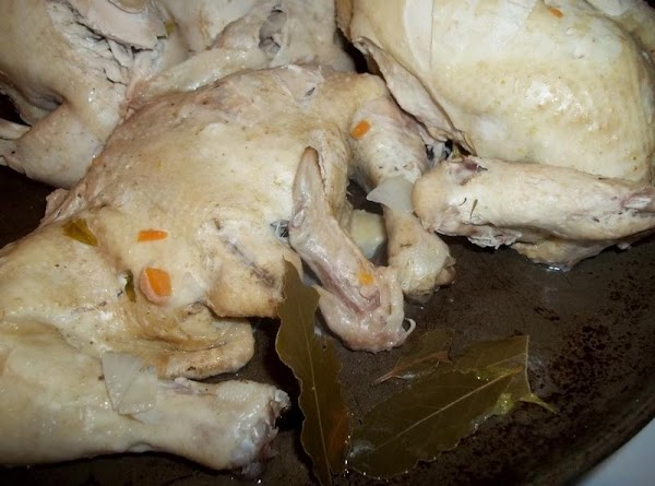 Remove chicken and bay leaves from the broth; set aside to cool.  Meanwhile, add more...