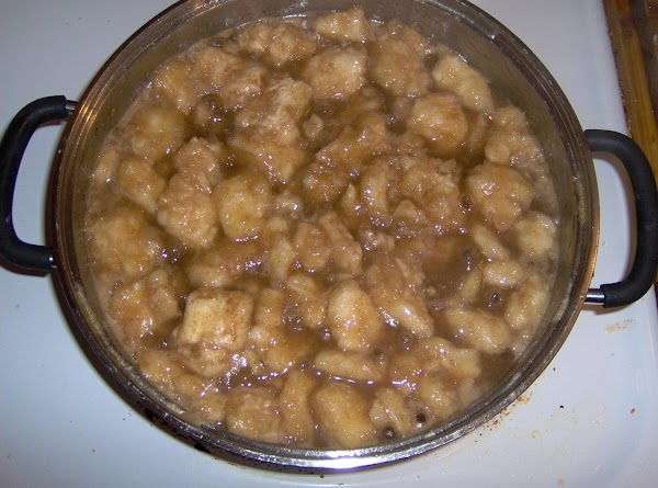 To the reserved water add 1 stick butter, sugar, brown sugar, vanilla, and cinnamon....