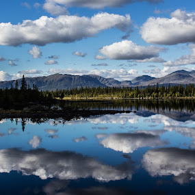 Cotton clouds by Erika Lorde - Landscapes Mountains & Hills ( canon, water, clouds, mountains, reflection, blue, fall, lake, canon60d, cottonballs )