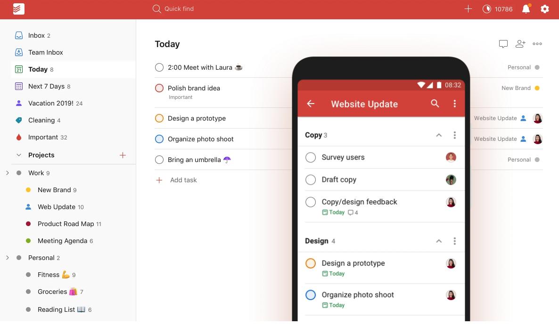 Screenshots of task management app Todoist, on desktop and mobile