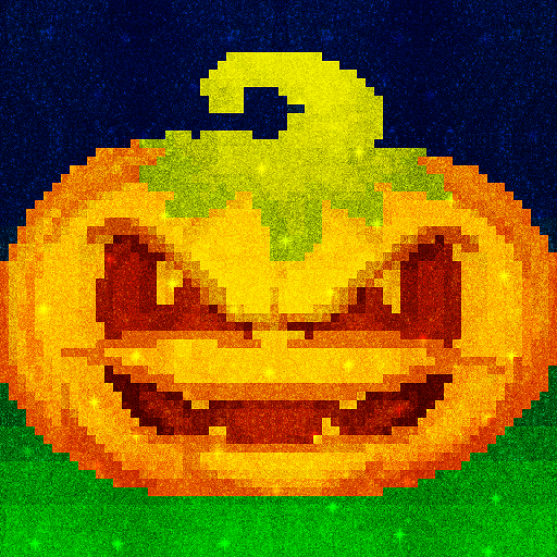 Halloween Glitter Pixel Art: Color by Number Book Icon