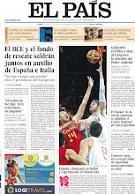 Photo: El BCE y el fondo de rescate saldrán juntos en auxilio de España e Italia y España, eliminada en fútbol y esperanzada en baloncesto, en la portada de la edición nacional del lunes 30 de julio de 2012 http://srv00.epimg.net/pdf/elpais/1aPagina/2012/07/ep-20120730.pdf