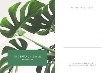 Plant Sidewalk Sale - Postcard Template