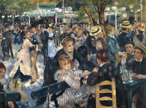 "Pierre-Auguste_Renoir_Le_Moulin_de_la_Galette - ""Le Moulin de la Galette"" (1876), by Pierre-Auguste Renoir, can be seen at the Musée d'Orsay in Paris."