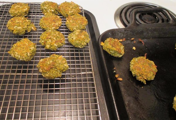 Move the cooked falafel to a rack to cool.  Freeze to store, dividing...
