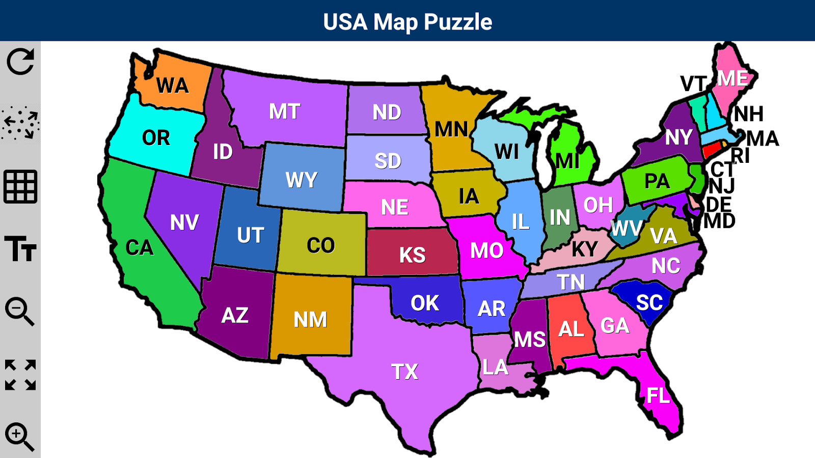 USA Map Puzzle Android Apps On Google Play - A usa map