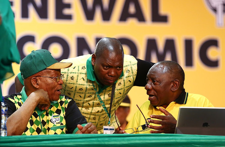 Outgoing ANC president Jacob Zuma, treasurer-general Dr Zweli Mkhize and ANC presidential hopeful Cyril Ramaphosa at the 54th ANC national elective conference held at Nasrec. Picture: MASI LOSI