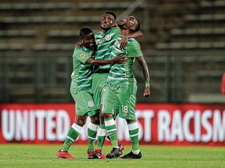 Neo Maeme, Lucky Baloyi and Given Mashikinya of Bloemfontein Celtic celebrates a victory during the 2020 MTN8 quarterfinal match against Mamelodi Sundowns at Lucas Moripe Stadium in Pretoria on October 18 2020. Picture: SAMUEL SHIVAMBU/BACKSTAGEPIX