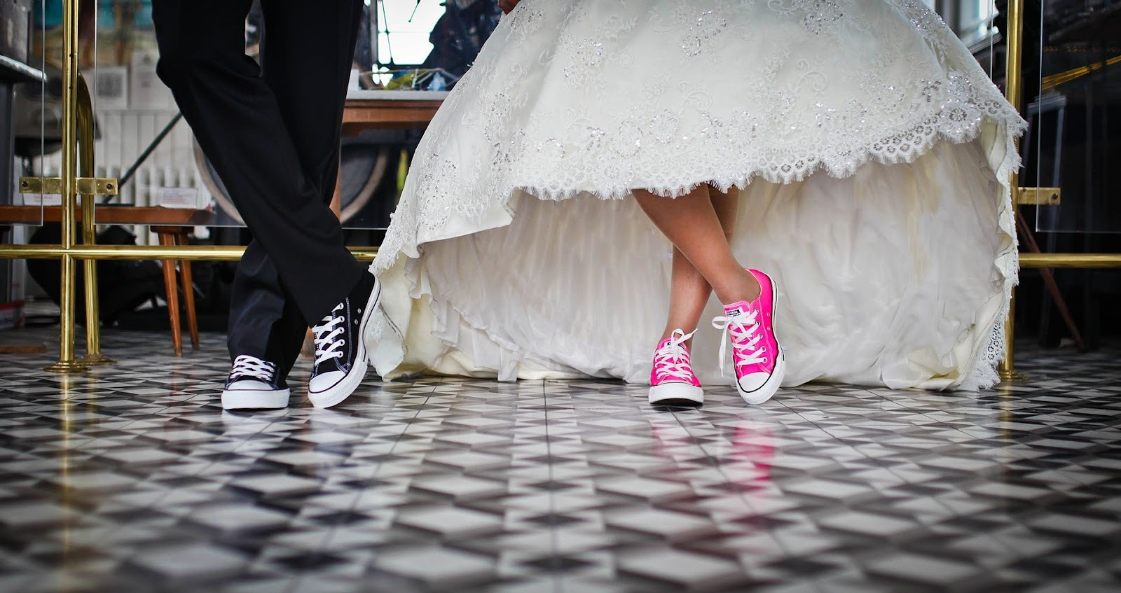 Picture of wedding attire and casual shoes