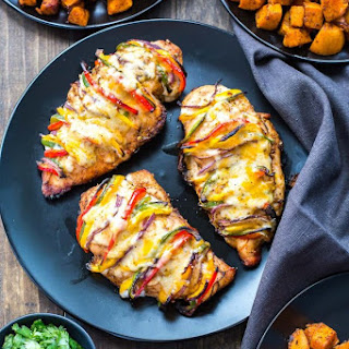 Grilled Hassleback Fajita Stuffed Chicken.