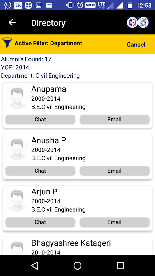 RVCE Alumni Association- screenshot