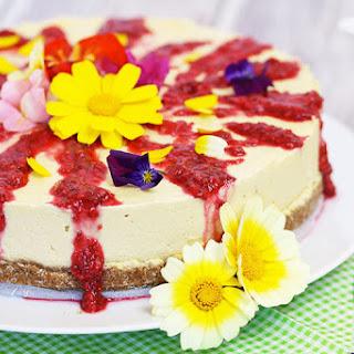 Mango & Coconut Cheesecake With Raspberry Sauce
