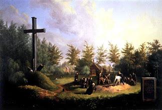 Photo: 1828 Constant Huysmans (1810 - 1886), schilderde de eerste begrafenis op het nieuwe kerkhof Zuylen .Vanaf 1 januari 1829 was het verboden te begraven in de steden. Al in 1826 kochten de Bredase parochies een hoeve op Zuylen onder Princenhage om een nieuwe begraafplaats aan te leggen. In hetzelfde jaar waren hier de eerste begrafenissen. Vlak na de ingebruikname van de begraafplaats werd dit schilderij vervaardigd. In 1829 kocht de Nederlands-hervormde gemeente een koepel met kelder en een herentuin met Chinese tent (een pagode) omringd door beukenhagen naast de katholieke begraafplaats. De laatste persoon die in de Grote Kerk begraven werd, was ouderling en diaken Charles Glaude Kamerling. Hij overleed op 16 november 1828 en ligt begraven in het Sacrament van Niervaartkoor. De kerkhoven van de Grote Kerk, van de Markendaalse Kerk en die achter Sint-Joostkapel werden gesloten.