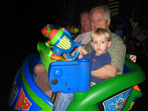 Photo: Day 4 - The grand-dads with Grady Jeremiah helping Buzz Lightyear save the planet.