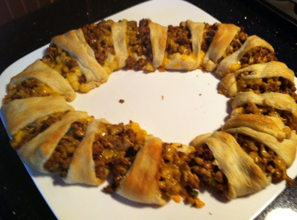 Wrap thinner part of crescents over filling n slightly tuck under. Bake at 375...