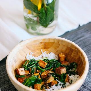 Spinach Tamari Tofu With Basmati Rice And Mushrooms