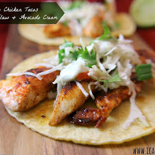 Ancho Chicken Tacos with Cilantro Slaw and Avocado Cream.