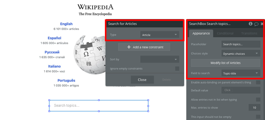 Building a Wikipedia search navigation in Bubble's visual programming platform