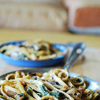 Creamy Mushroom Pasta With Caramelized Onions And Spinach.