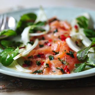 Salmon Ceviche With Fennel Salad.