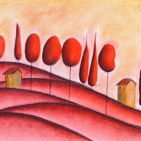 Landscape in Red by Jennifer van Niekerk - Drawing All Drawing ( hills, hill, warm, lollipop, whimsical, landscape, naive, red, crimson, mystical, villa, cottage, mediterranean, cypress, trees, warmth )