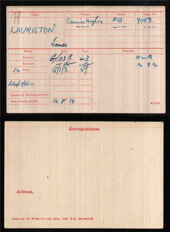 James Laurieston's Medal Index Card
