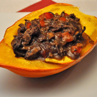 Golden Acorn Squash Stuffed with Spicy Beef