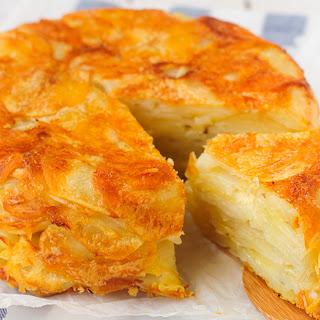 Crispy Upside Down Potato Cake.