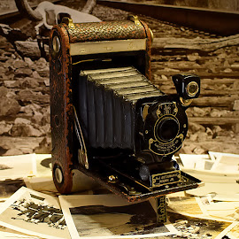 1914 No. 1 Autographic Kodak Jr. by Shawn Thomas - Artistic Objects Antiques ( sepia, old, camera, white, kodak, collage, antique, black, historic )