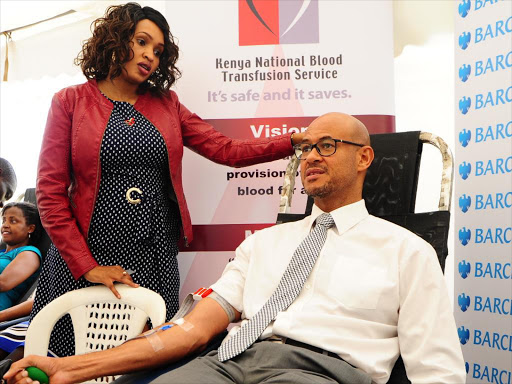 KNBTS, CEO Josephine Githaiga and Barclays Bank Kenya MD Jeremy Awori during the launch of a nationwide blood donation drive that is running for two weeks. /COURTESY