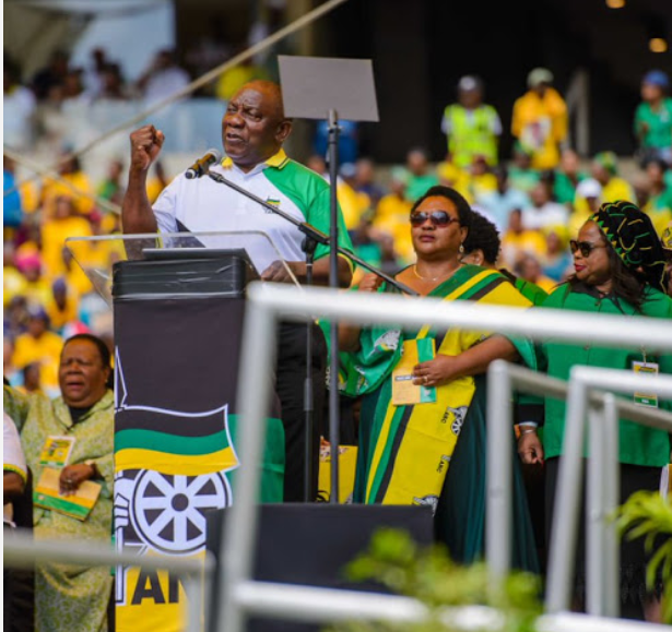President Cyril Ramaphosa delivering the 2019 election manifesto at the Moses Mabhida Stadium in KwaZulu-Natal on January 12 2019