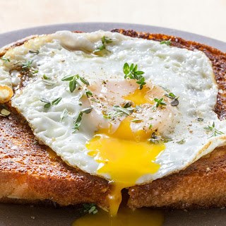 Easy Croque-Madame (Ham and Grilled Cheese Sandwich with Fried Egg).