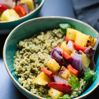 Freekeh with Basil-Cilantro Pesto and Grilled Pineapple Skewers.