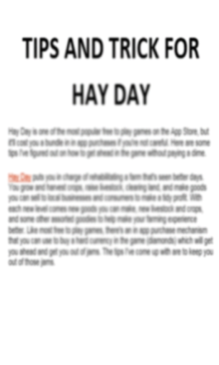 Tips And Trick For Hay Day