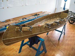 Photo: having modified the design, it took 30' to fit the gunwale with clamps, not much bending is required