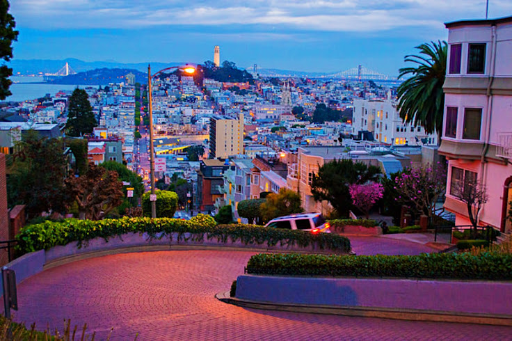 View of Coit Tower from the top of Lombard Street.