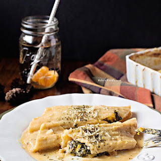 Baked Pumpkin and Kale Manicotti with Miso Sauce.