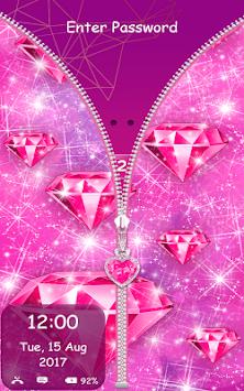 Pink Diamond Zipper Lock Screen For Girls Apk Latest Version