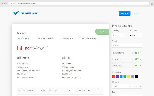 Free Invoice Maker   Chrome Web Store