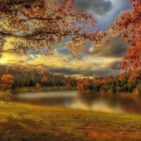 Sitting by the Lake by Mike Svach - Landscapes Waterscapes ( red, autumn, colors, fall, trees, lake )