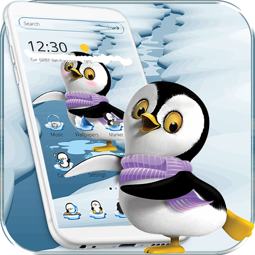 Cute Penguin Theme Ice Snow World