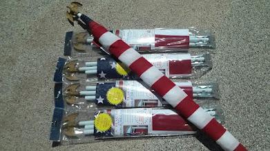 Photo: American flag set, cloth, pole with Eagle