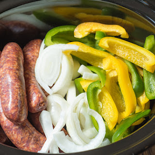 Slow Cooker Sausage, Peppers & Onions.