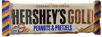 Hershey's Gold Caramelized Creme Chocolate Bar Candy - Peanuts and Pretzels, 1.4oz