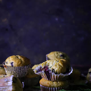 Agave Nectar Sweetened Blueberry-Banana Breakfast Muffins without Refined Sugar.