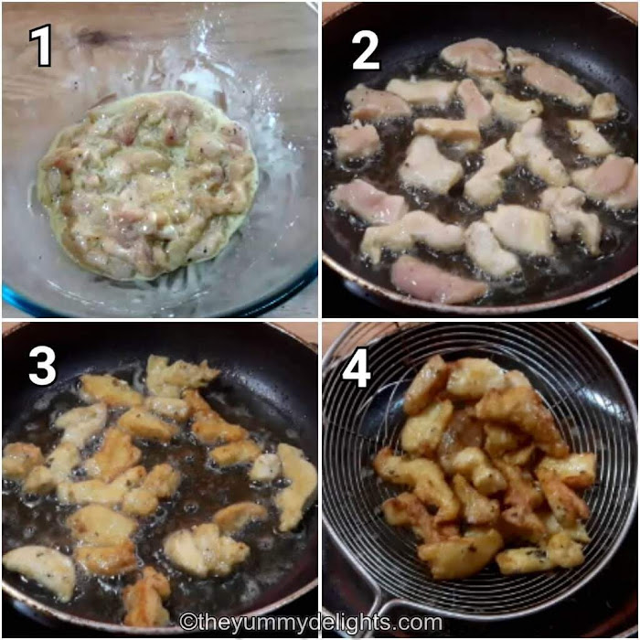 step by step collage of frying the chicken strips in medium hot oil