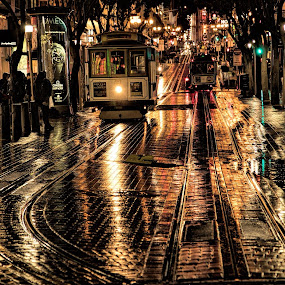 Powell Street Cable Cars on San Francisco Rainy Night by Terry Scussel - City,  Street & Park  Street Scenes ( cable cars, san francisco nights, powell street, powell street cable cars )