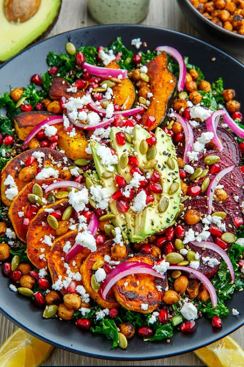 Click Here for Recipe: Roast Acorn Squash, Sweet Potato and Beet Kale and Quinoa Salad with Avocado, Feta and Pomegranate in a Cilantro Lemon Tahini Dressing