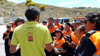 Grupo de voluntarios de Protección Civil.