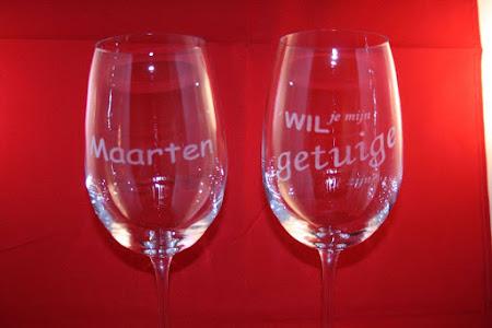 Glas - Champagneglazen 'Wil je onze getuige zijn'
